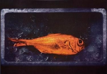 Abysse #5 Gomme trichrome sur papier aquarelle 40x50cm