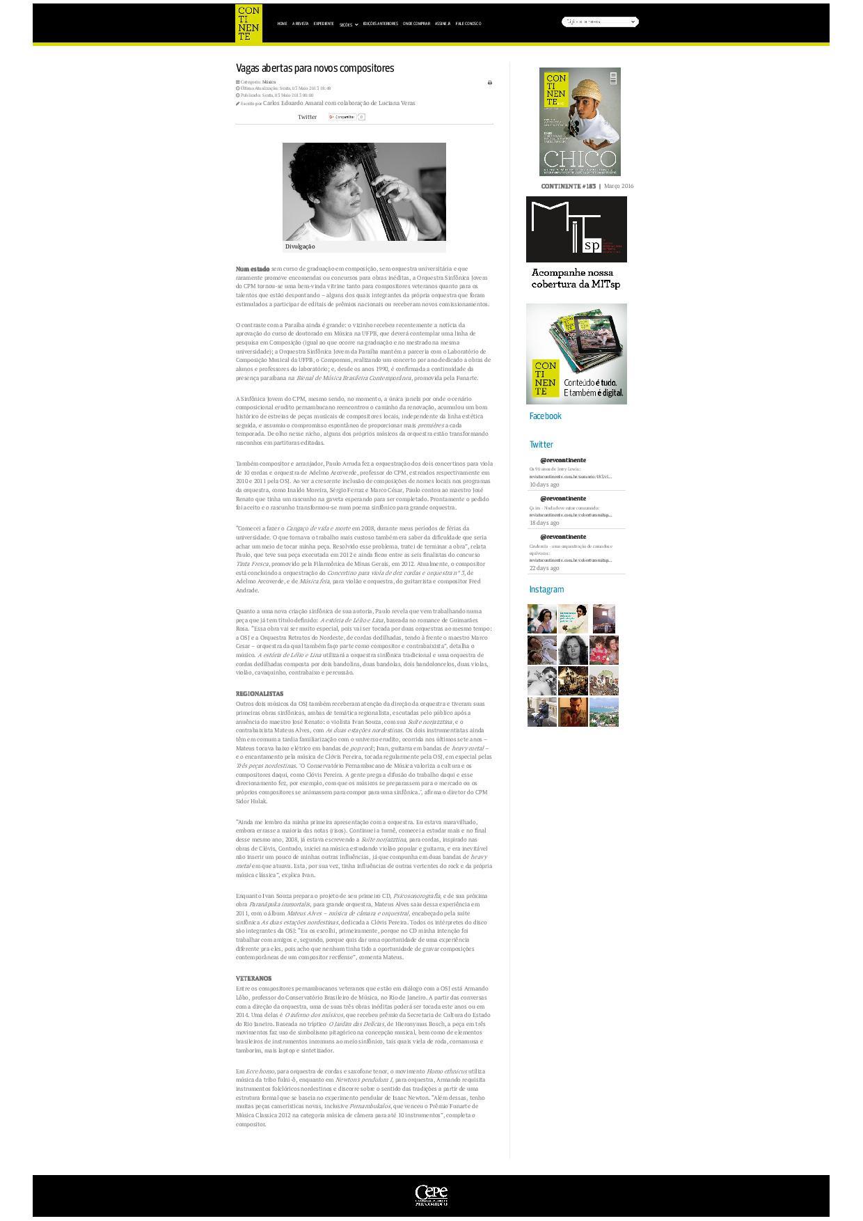Vagas abertas para novos compositores - Revista Continente - Revista pernambucana de jornalismo cult