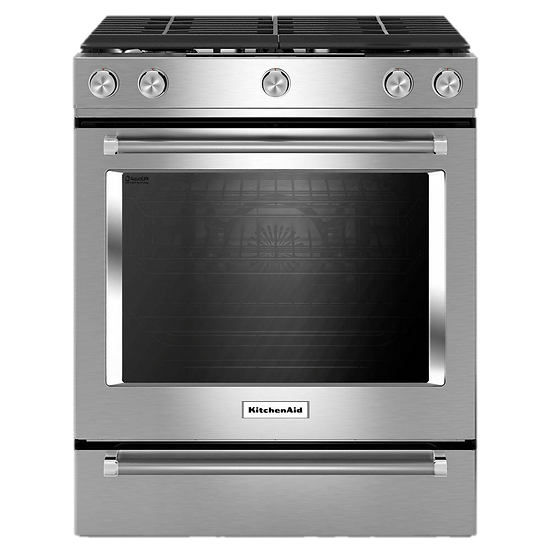 Kitchenaid - 5.8 cu. ft. Slide-In Gas Range with Self-Cleaning Convection Oven