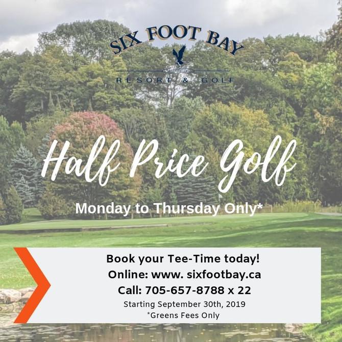 Half Price Golf On Now!
