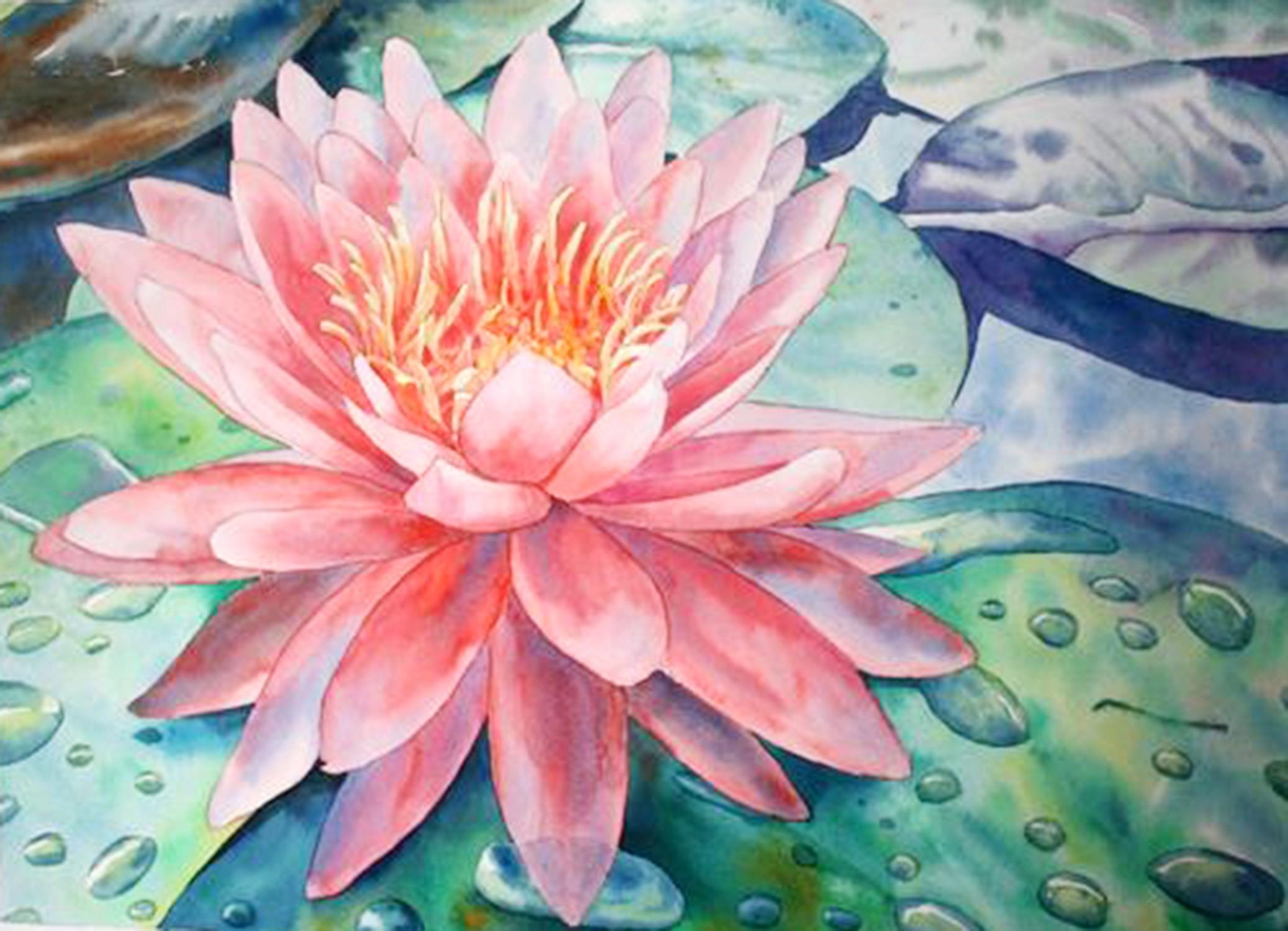 วาดภาพดอกไม้ด้วยสีน้ำ
