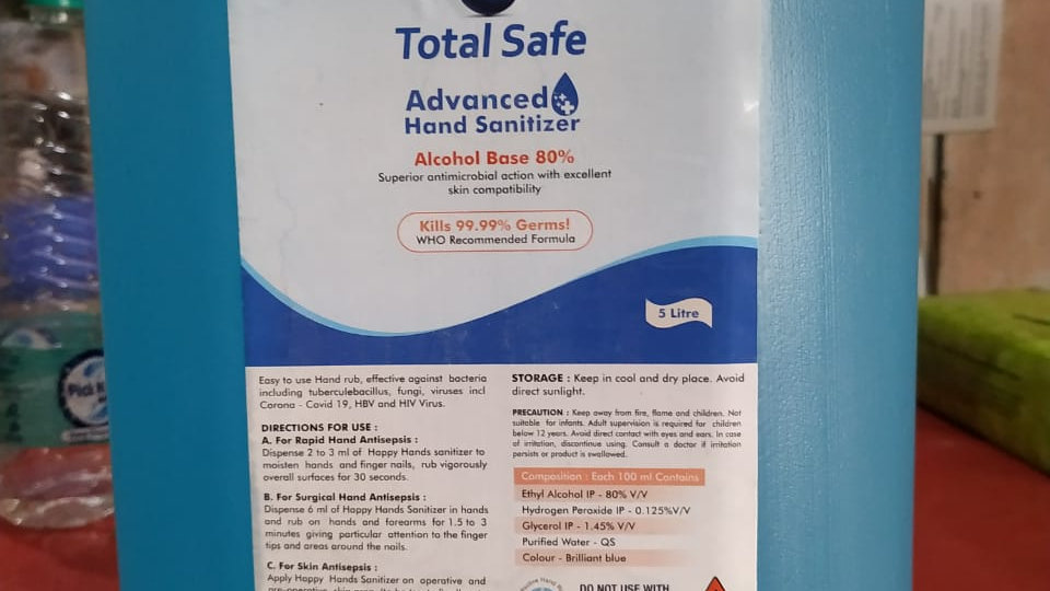 Total Safe Advanced Hand Sanitizer Alcohal base 80%