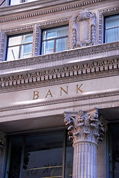 Non-specific image of sign on the exterior front wall of a bank