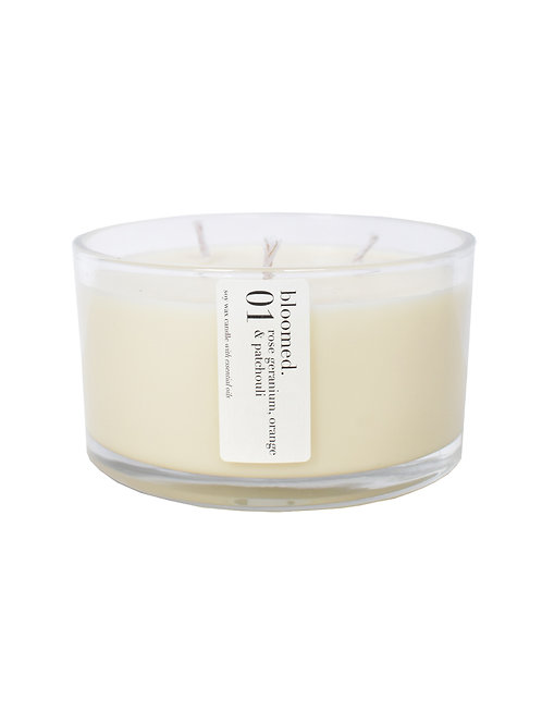 01 rose geranium, orange & patchouli extra large three wick candle