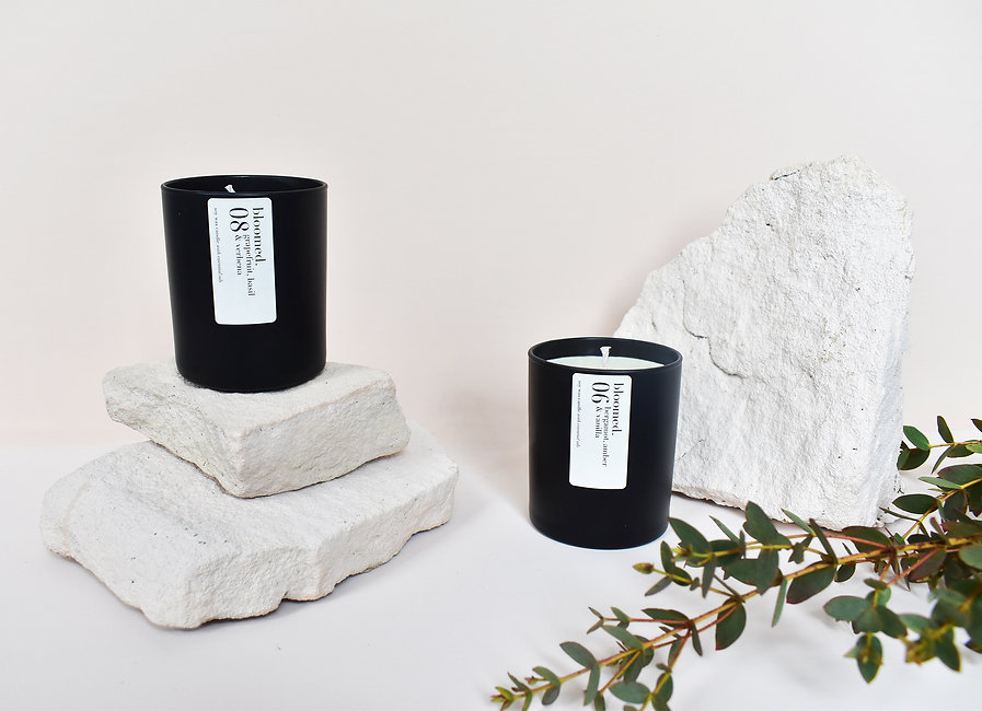 Black-soy-wax-candles-branch-leaves-ston