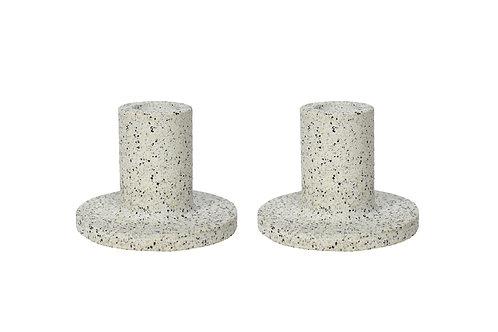 Low candlestick pair in granite