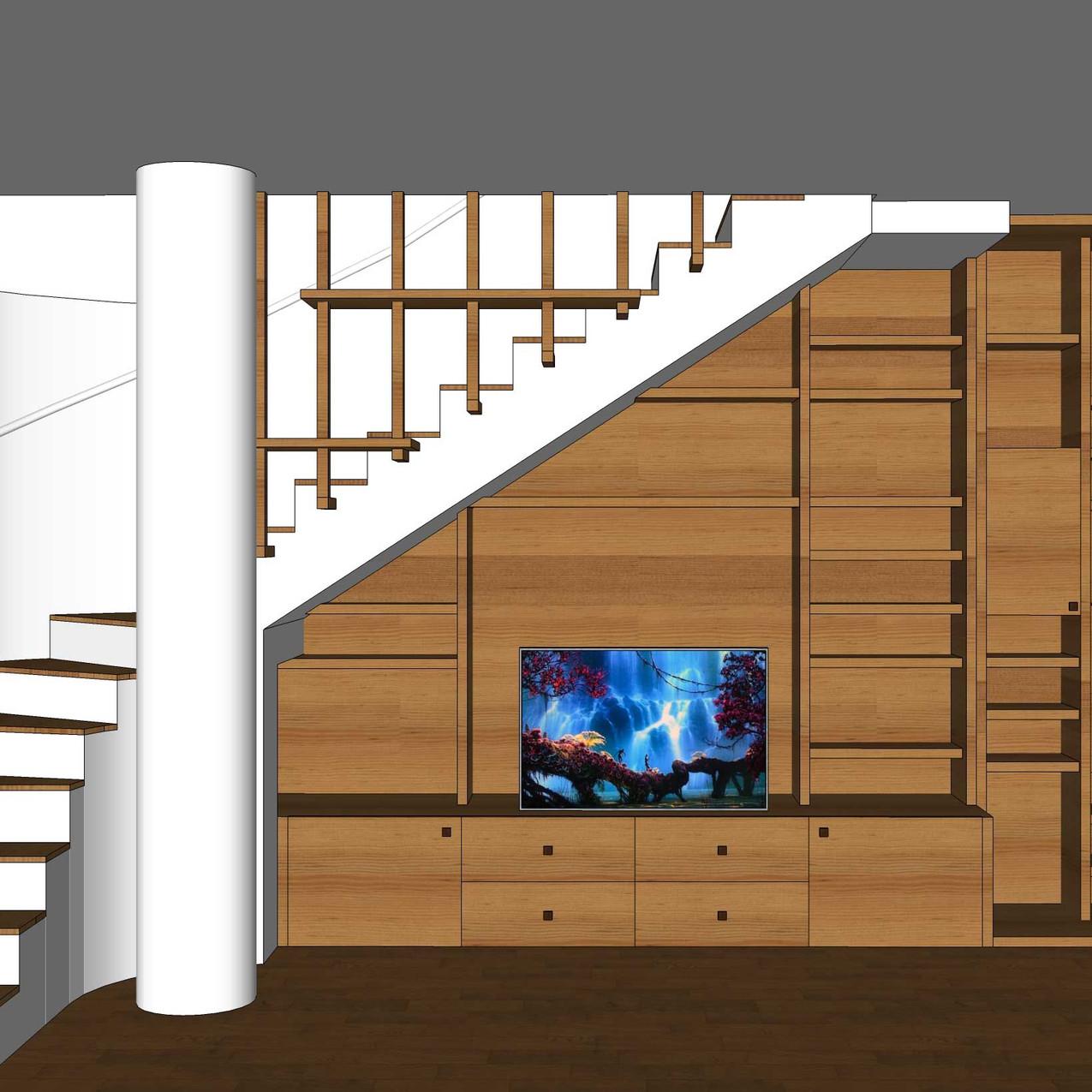Mobile soggiorno con base a cassettoni porta TV e libreria a ripiani fissi.  Arredo in legno massello