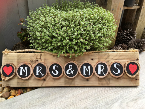 Mrs & Mrs chalkboard painted wooden disc sign