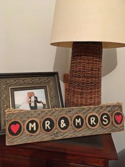 Mr & Mrs chalkboard paint wooden disc sign