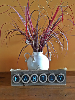 Family chalkboard paint wooden disc sign