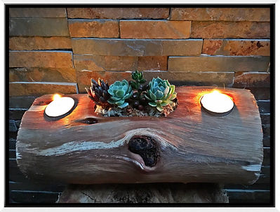 Succulent candle log. Upcycle Garden Art, contact us