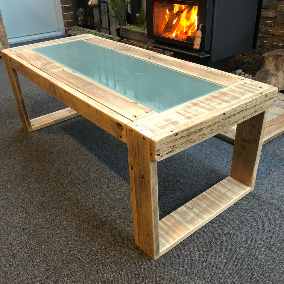Upcycled Pallet Rectangle Coffee Table with frosted glass