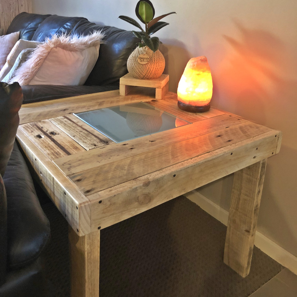 Upcycled Pallet Coffee Table with glass