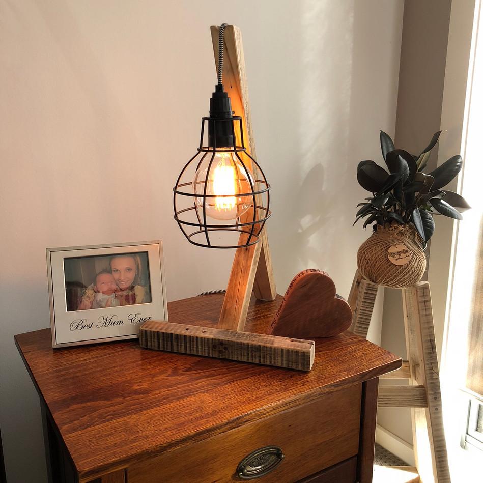 Black Cage Wooden Desk Lamp
