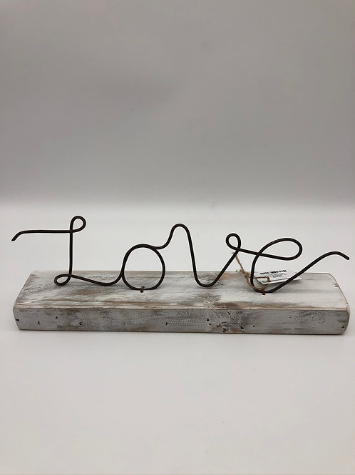 Love Wire Sign on white wash board
