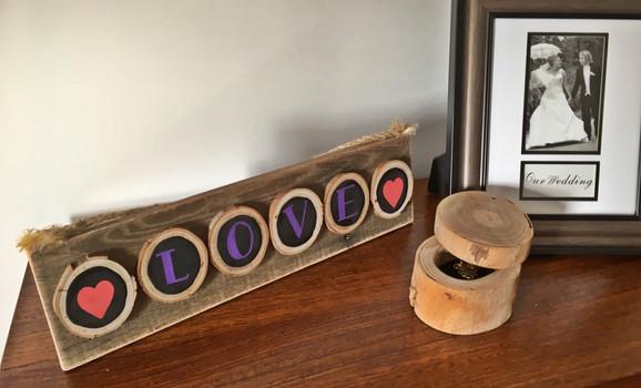 LOVE chalkboard paint wooden disc sign