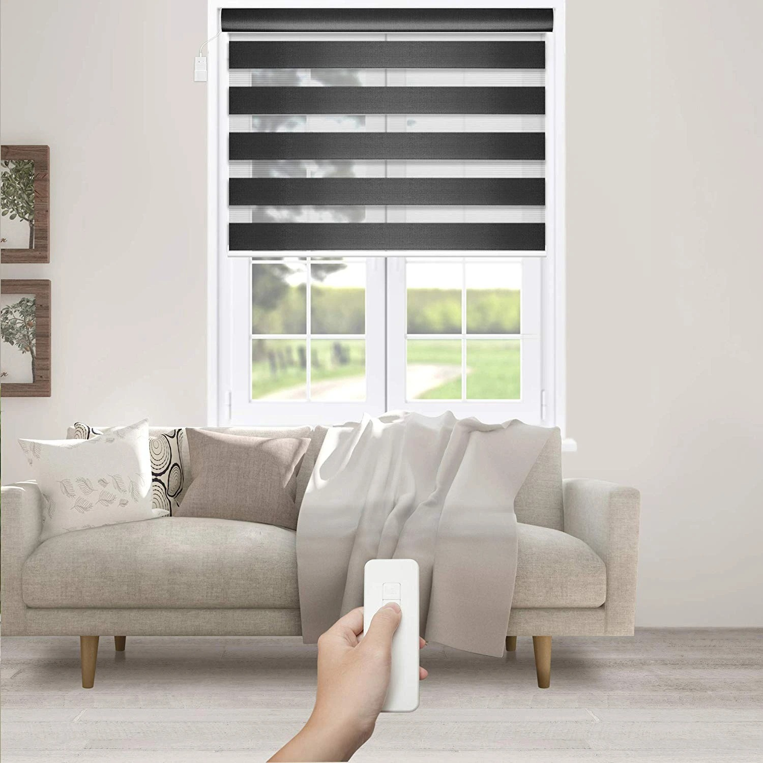 Motorized Zebra Roller Shade | Charcoal