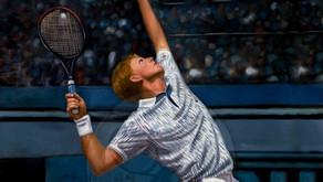 The Rocket Serve | Oil on canvas 60x80 cm Boris Becker Germany | The Berlin Tennis Gallery