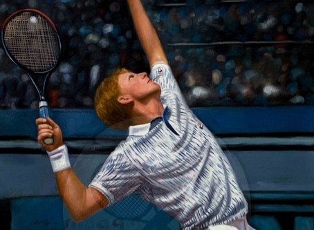 The Rocket Serve | Oil on canvas 60x80 cm Boris Becker Germany | The Berlin Tennis Gallery