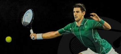 Novak Djokovic focussing the ball
