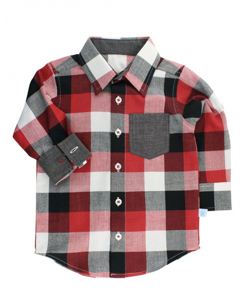 dca53fd81 ... your boy will love this plaid shirt. The long sleeves have button tabs  inside, so they can easily be rolled-up for a more laid-back look on warmer  days.