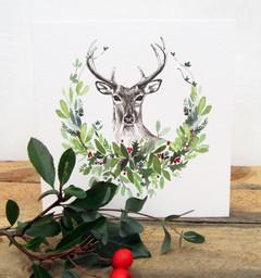 Stag Head Christmas Card