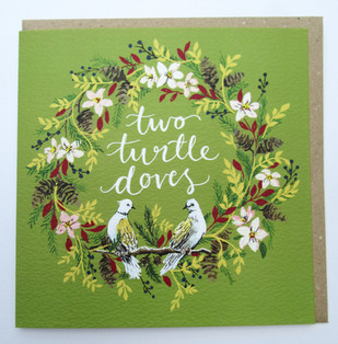 Two Turtle Doves Christmas Card