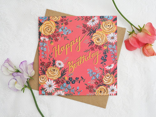 Coral Birthday Card