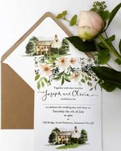 Old Bridge Wedding Invitation