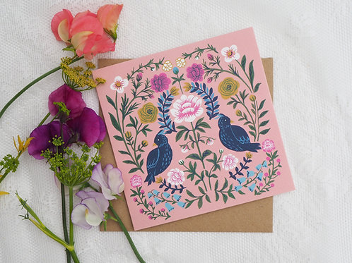 Pink Folky Greeting Cards Pack of 4