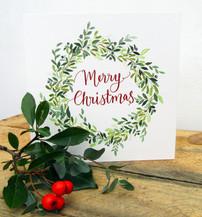 Evergreen Wreath Christmas Card