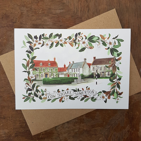 Cow Square Somerton A6 Greeting Card