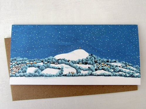 Glastonbury Tor Snowy Sky Christmas Card