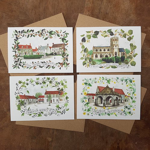 Pack of 4 Somerton A6 Greeting Cards
