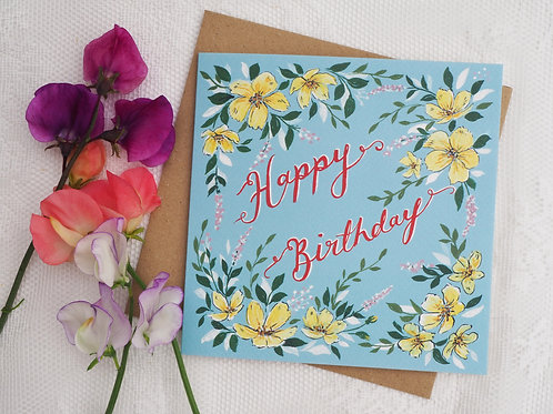 Yellow Rose Birthday Card