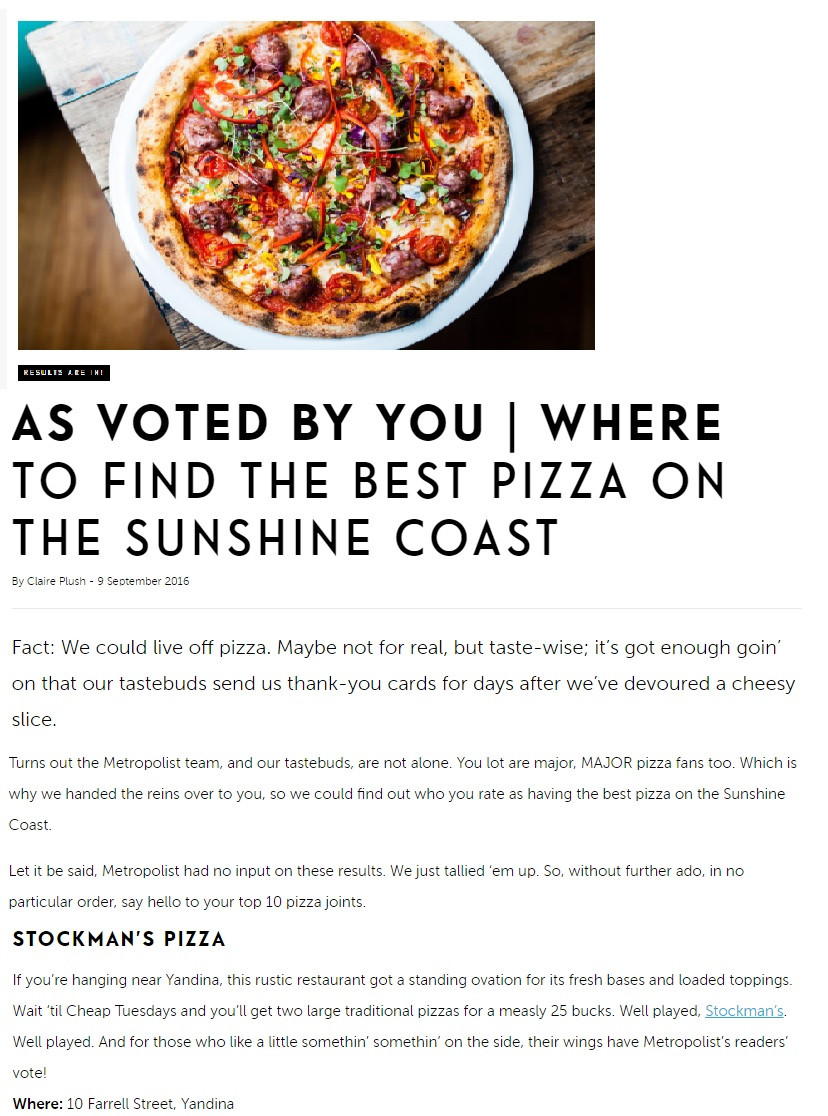 Stockmans in Top 10 of Sunshine Coast Pizzas