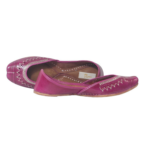 Magenta Leather Jutti