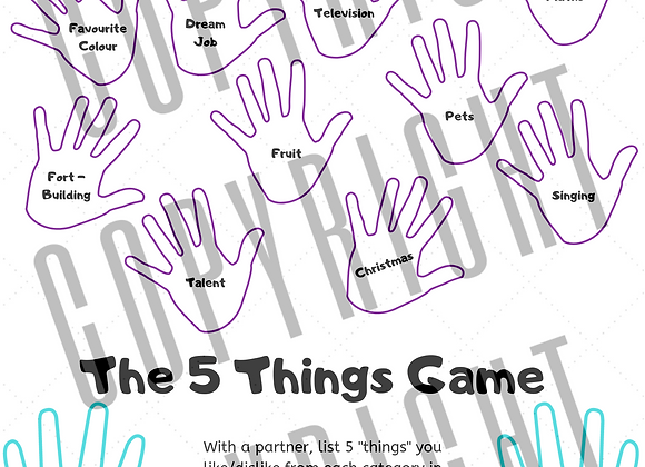"The ""5 Things"" Game Worksheet"