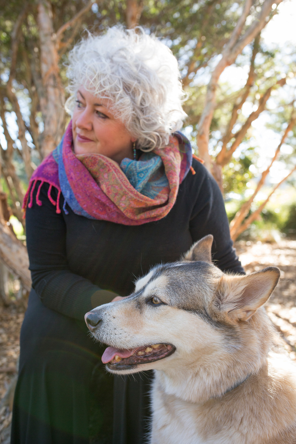 Dr Annetta Mallon sits down with her dog Cully behind her in front of a tree outdoors. Annetta has curly white hair, black clothing and a colourful scarf around her neck. Cully is an Alaskan Malamute X German Shepherd dog and sits in front of Annetta - both woman and dog are looking to the left in the picture.