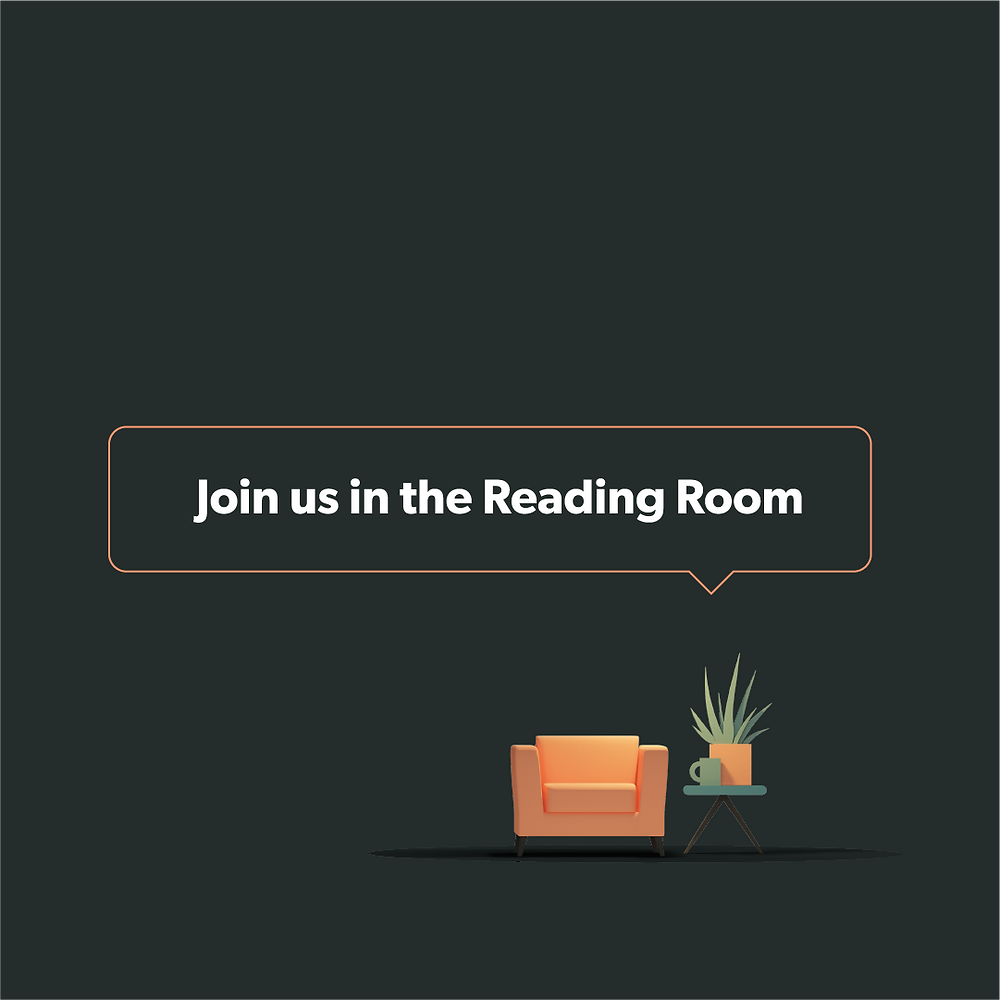 "This is a picture of an armchair, mug and pot plant. The words say: ""Join us in the Reading Room"""
