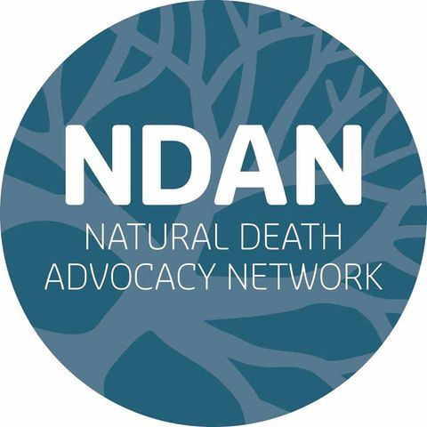 Dark teal circular logo with white writing: NDAN Natural Death Advocacy Network