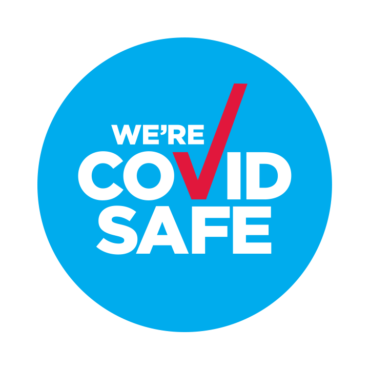 This is the Australian digital badge indicating a business is Covid Safe. The round blue circle contains the words 'we're COVID SAFE' with a red tick.
