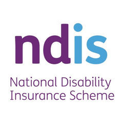 purple and blue NDIS logo with the words National Disability Insurance Scheme written below the ndis