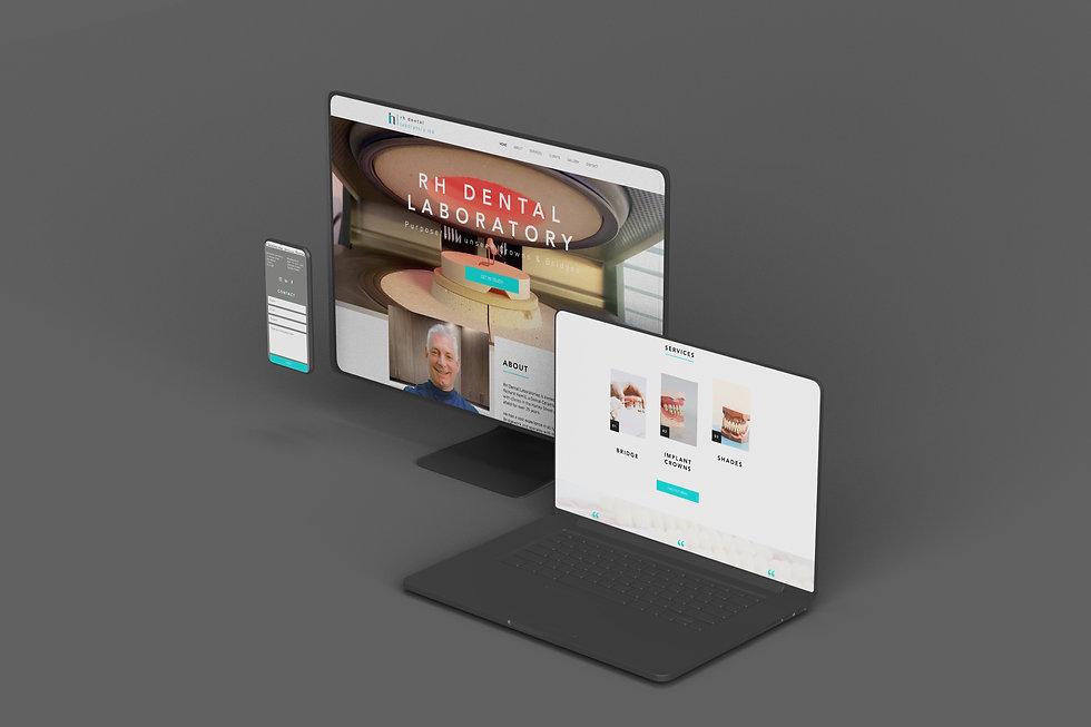 RH Dental Lab Web Design Mock Up on Devices