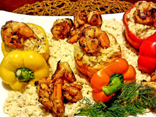 Orzo stuffed Tri-Colored Bellpeppers adorned with Pan Seared Shrimp