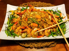 Jan's Special Shrimp Fried Rice with Thai Pepper Garnish