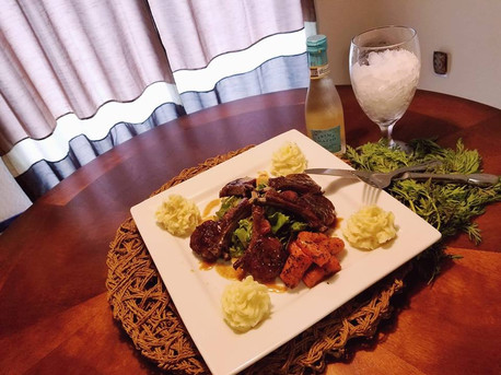 Grilled Lamb Chops with a Madeira Wine drizzle, Roasted Carrots and Garlic Mashed Potatoes