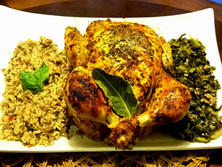 High heat Roasted Chicken, Dirty Rice and Seasoned Collard Greens
