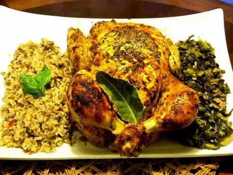High heat Roasted Chicken, Dirty Rice and Seasoned Collard Greens