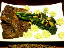 Oven Braised Pork Steak, Broccolini Spears with dollops of Sour Cream and Butter Mashed Potatoes